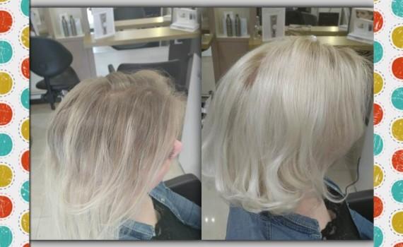 Realisé blond polaire Powder et patine color gloss la Biosthetique